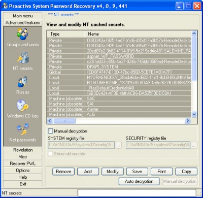 Proactive System Password Recovery 6.52 screenshot