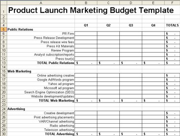 Product Launch Plan Marketing Budget 1.0 screenshot