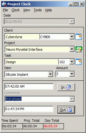Project Clock Client/Server 10.14 screenshot