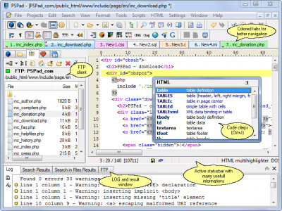 PSPad editor 5.0.3.377 screenshot