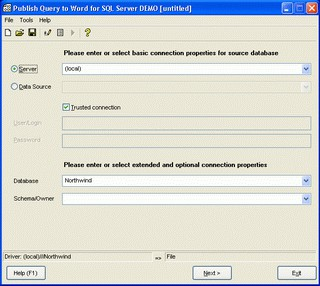 Publish Query to Word for SQL Server 1.08.00 screenshot