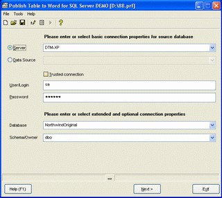 Publish Table to Word for SQL Server 1.08.00 screenshot