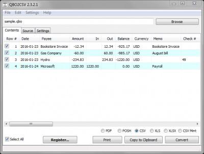 QBO2CSV 3.2.2.0 screenshot