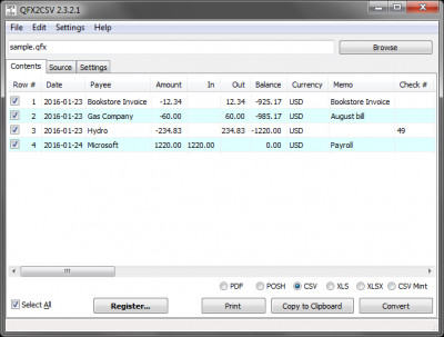 QFX2CSV 3.1.6.0 screenshot