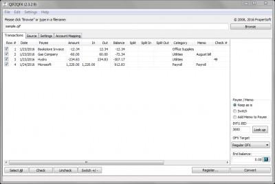 QIF2QFX 4.0.19 screenshot