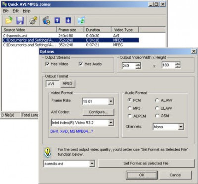 Quick AVI MPEG Joiner 2.1 screenshot