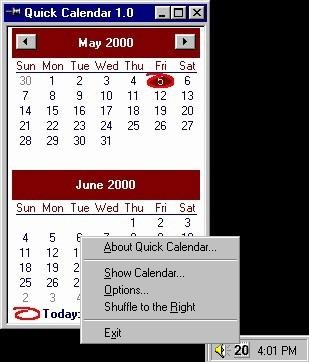 Quick Calendar 1.00 screenshot