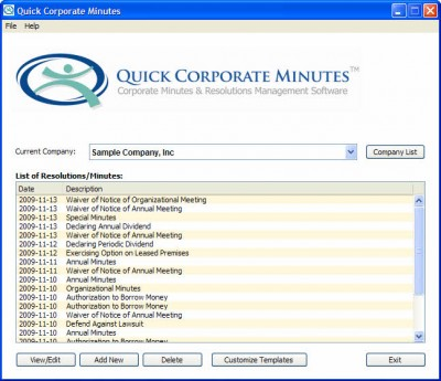 Quick Corporate Minutes 5.0.2 screenshot