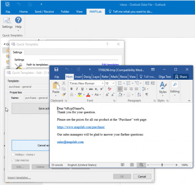 Quick Templates for Outlook 2.3.3.5 screenshot
