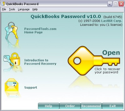 QuickBooks Password 10.0.6745 screenshot
