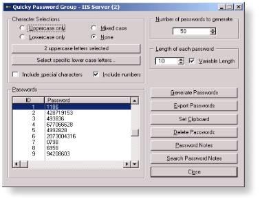 Quicky Password Generator - Shareware 2.0 screenshot
