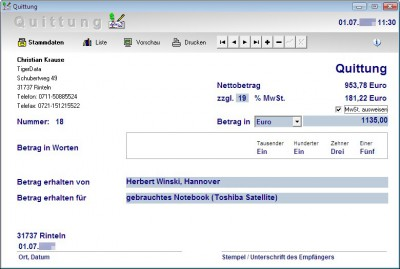 Quittung 4.0 screenshot