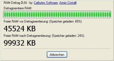 RAM Defrag 2.84 screenshot