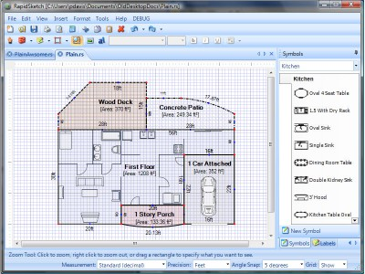 Rapidsketch floor plan area calculator 2 3 review and for Floor calculator math