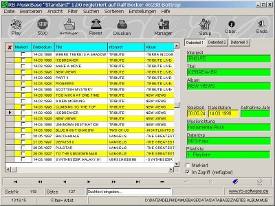 RB-MusicBase 1.39 screenshot