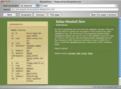 Recipe4mac 1.5.8 screenshot