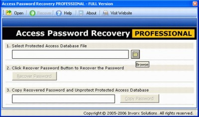 Recover Access Password 1.0 screenshot