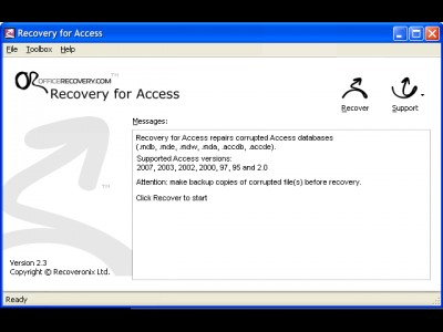 Recovery for Access 3.2.19679 screenshot