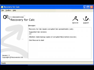 Recovery for Calc 1.1.0906 screenshot