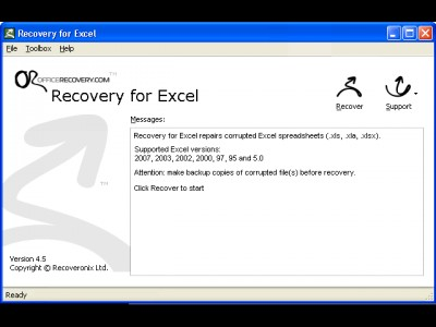 Recovery for Excel 6.0.19635 screenshot