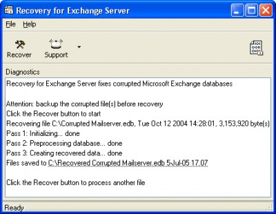 Recovery for Exchange Server 5.5.16840. screenshot