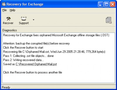Recovery for Exchange 2.1.0835 screenshot