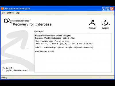 Recovery for Interbase 2.5.0923 screenshot