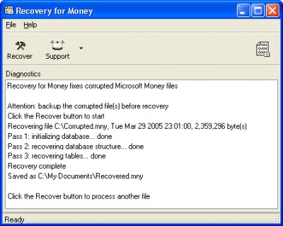 Recovery for Money 1.6.0839 screenshot