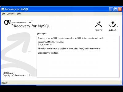 Recovery for MySQL 2.0.0925 screenshot