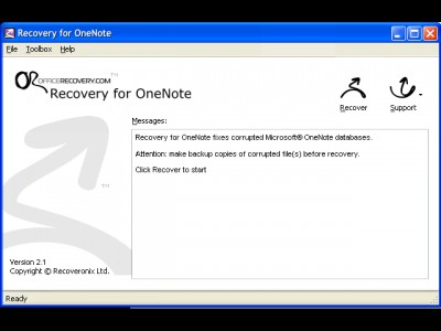 Recovery for OneNote 2.1.0938 screenshot