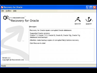 Recovery for Oracle 4.0.20259 screenshot