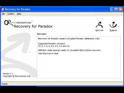 Recovery for Paradox 1.1.0848 screenshot