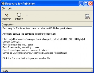 Recovery for Publisher 1.1.0845 screenshot