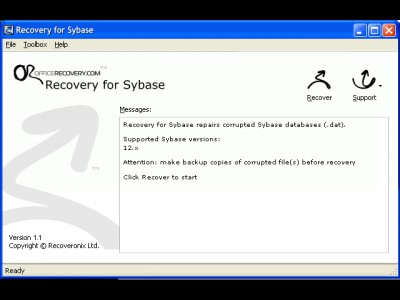 Recovery for Sybase 1.1.0937 screenshot