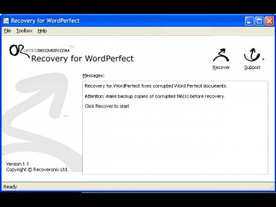 Recovery for WordPerfect 1.1.0922 screenshot