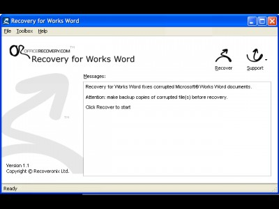 Recovery for Works 2010.1017 screenshot