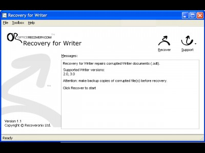 Recovery for Writer 1.1.0907 screenshot