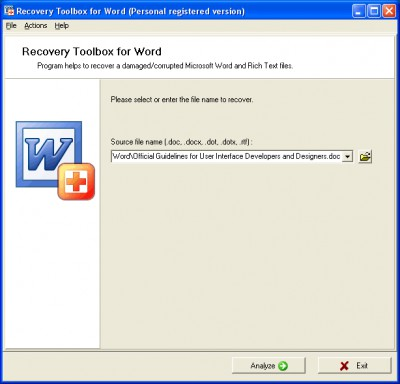 Recovery Toolbox for Word 2.5.0 screenshot