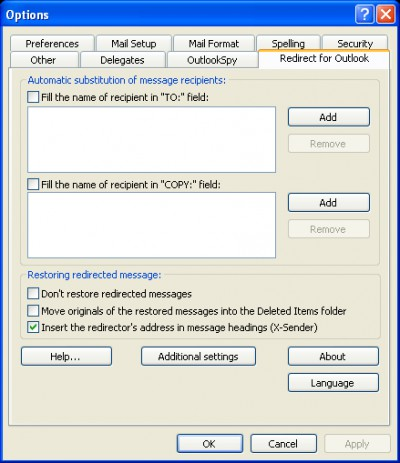 Redirect for Outlook 1.8 screenshot