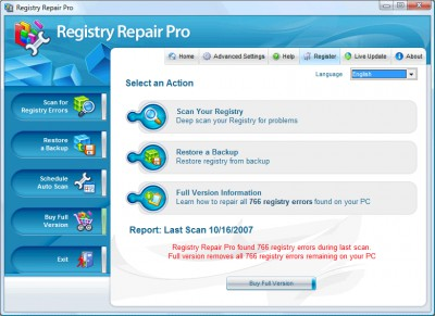 Registry Repair Pro 4.5 screenshot