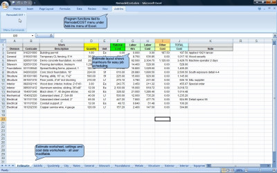 RemodelCOST Estimator for Excel 12.03 screenshot