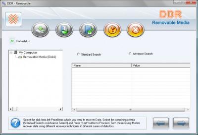 Removable Media File Unerase 2011.1105 screenshot