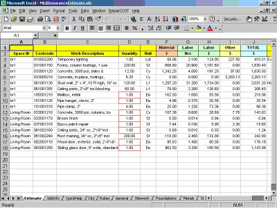 RepairCOST Estimator for Excel 16 screenshot