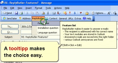 ReplyButler: Outlook boilerplate texts 6.05 screenshot