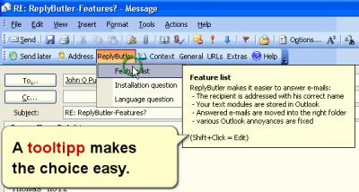 ReplyButler: Outlook boilerplate texts 6.07 screenshot
