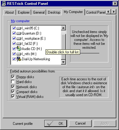 RESTrick Control Panel 1.3.3 screenshot
