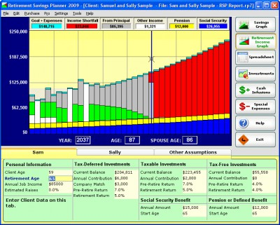 Retirement Savings Planner 2008.1 screenshot