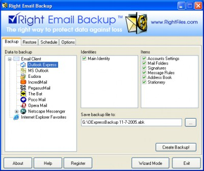 Right Email Backup 2.6 screenshot