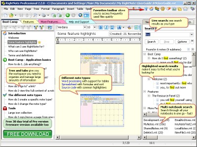 RightNote Freeware 3.5.0 screenshot