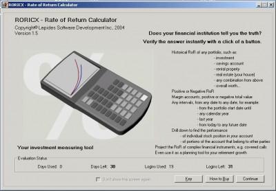 RORICX - Rate of Return Calculator 1.5 screenshot
